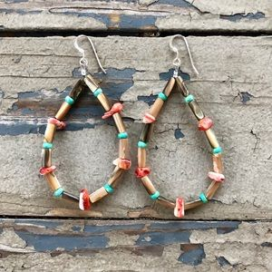 Abalone Spiny Oyster Turquoise Loop Earrings